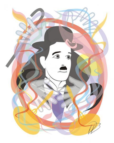 Charlie Chaplin - 3D  Art Print