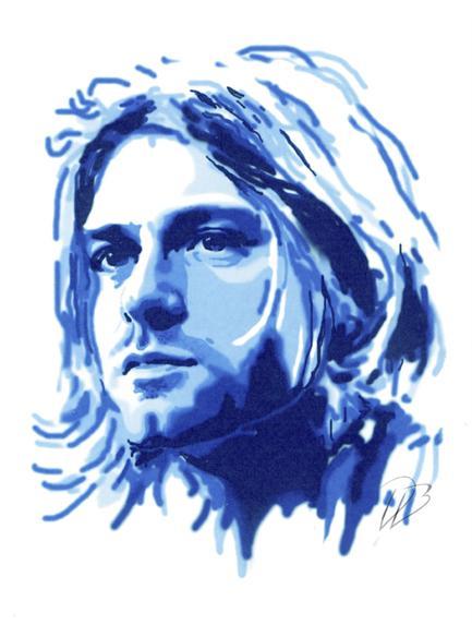 Kurt Cobain - Blue Nirvana  Art Print